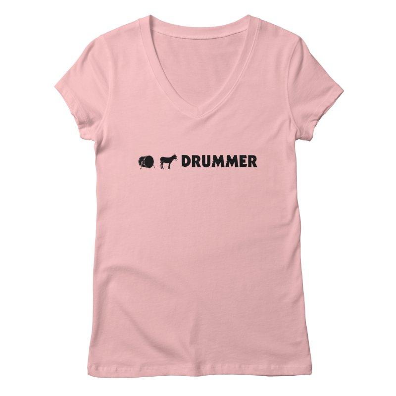 Kick Ass Drummer - Black Logo Women's Regular V-Neck by Drum Geek Online Shop