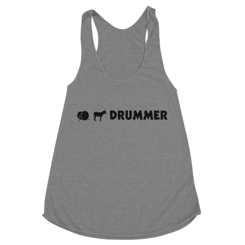 Kick Ass Drummer - Black Logo Women's Racerback Triblend Tank by Drum Geek Online Shop
