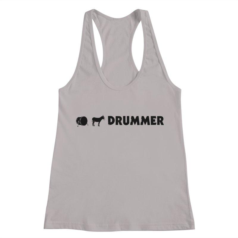 Kick Ass Drummer - Black Logo Women's Racerback Tank by Drum Geek Online Shop