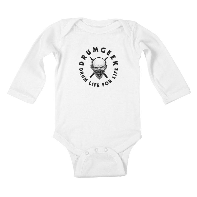 Drum Life For Life (Style 4) - Black Logo Kids Baby Longsleeve Bodysuit by Drum Geek Online Shop