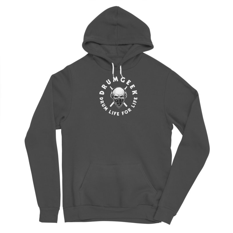 Drum Life For Life (Style 4) - White Logo Men's Sponge Fleece Pullover Hoody by Drum Geek Online Shop