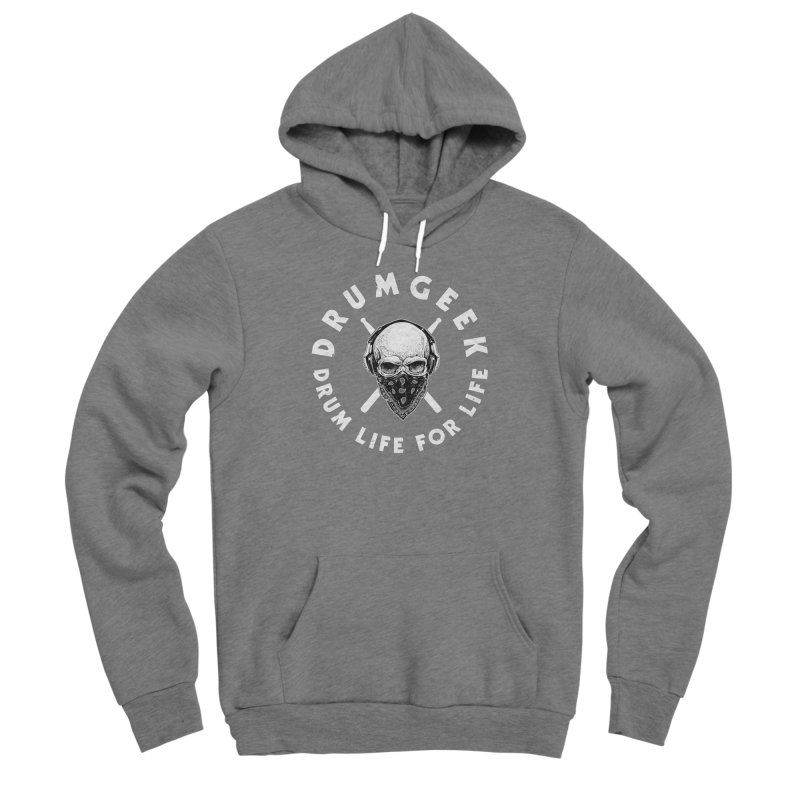 Drum Life For Life (Style 4) - White Logo Men's Sponge Fleece Pullover Hoody by Drum Geek Online Shop
