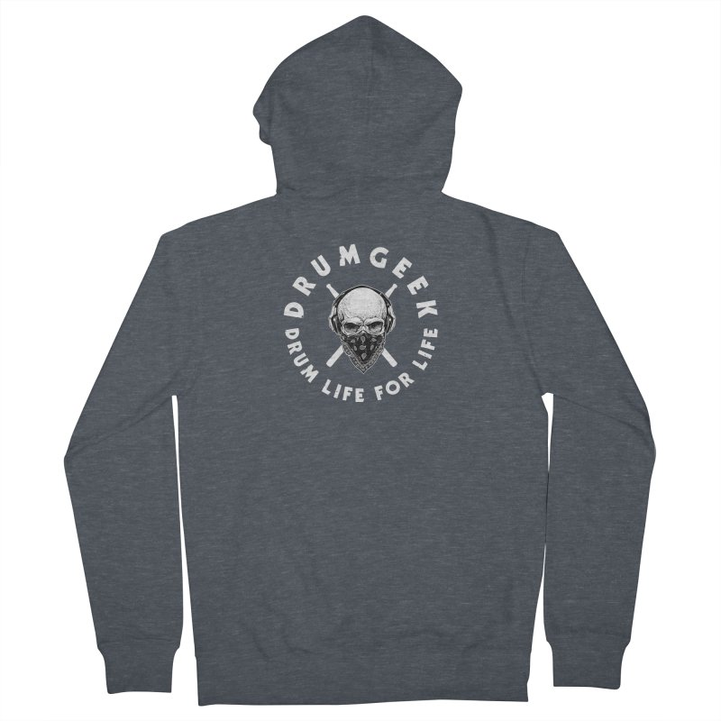 Drum Life For Life (Style 4) - White Logo Men's French Terry Zip-Up Hoody by Drum Geek Online Shop