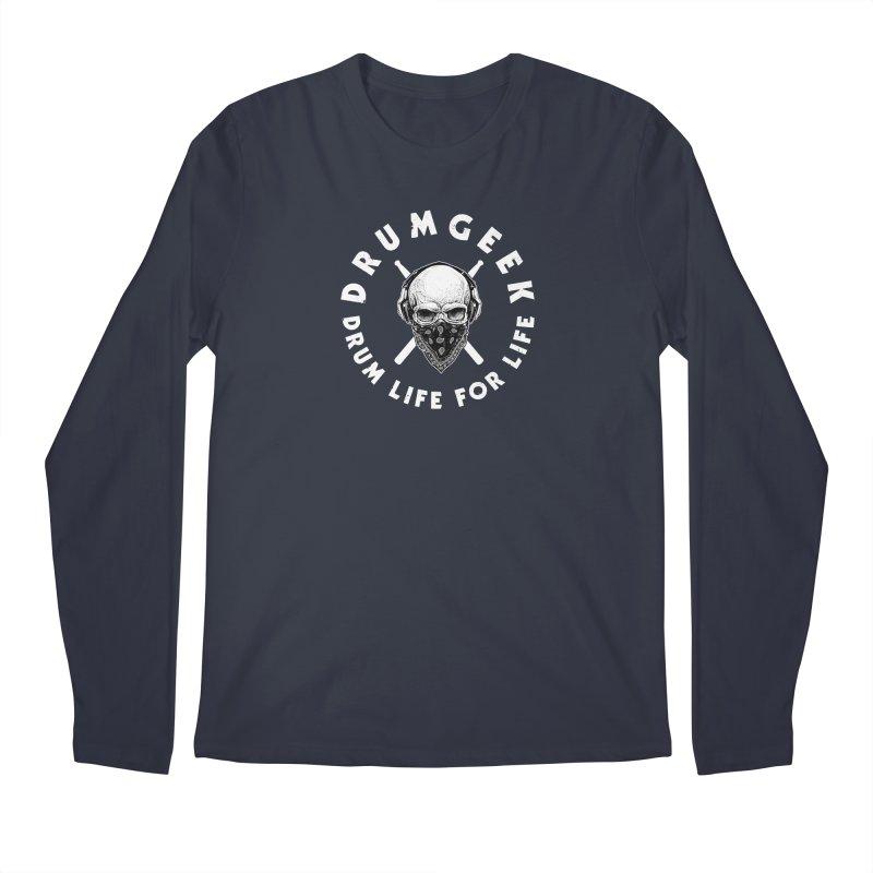 Drum Life For Life (Style 4) - White Logo Men's Regular Longsleeve T-Shirt by Drum Geek Online Shop