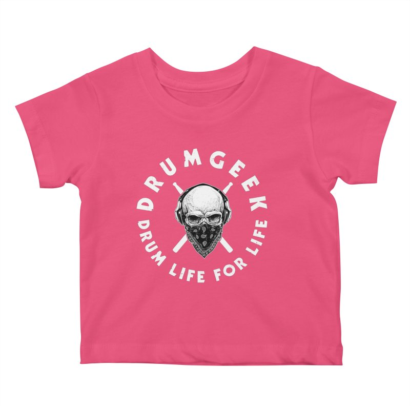 Drum Life For Life (Style 4) - White Logo Kids Baby T-Shirt by Drum Geek Online Shop