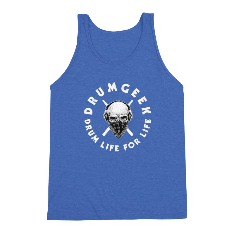 Drum Life For Life (Style 4) - White Logo Men's Triblend Tank by Drum Geek Online Shop