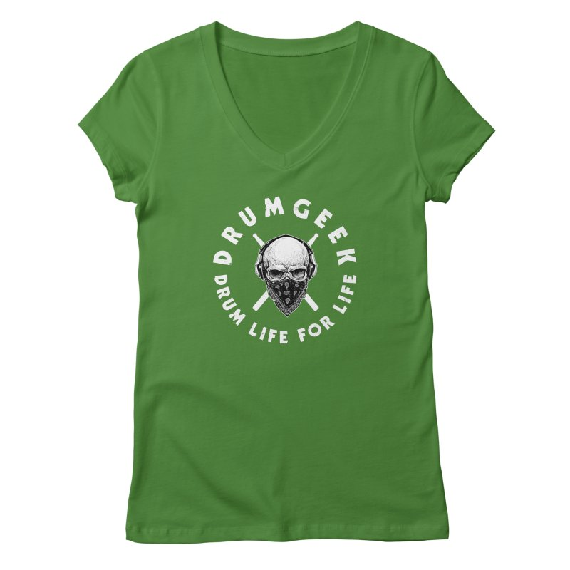 Drum Life For Life (Style 4) - White Logo Women's Regular V-Neck by Drum Geek Online Shop