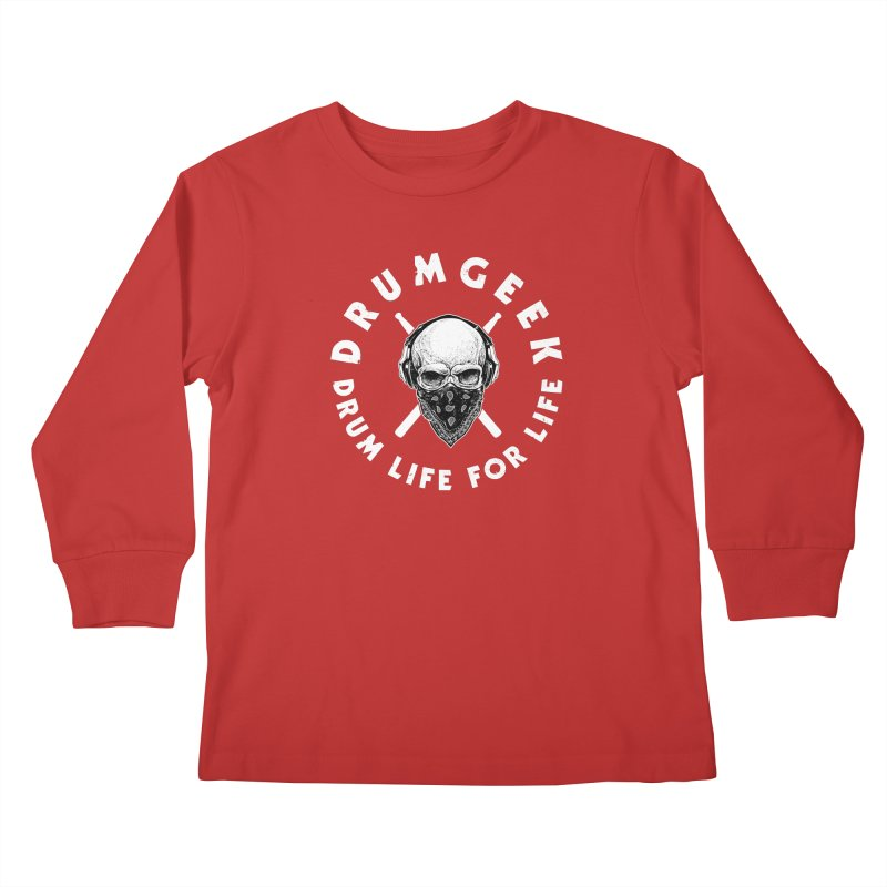 Drum Life For Life (Style 4) - White Logo Kids Longsleeve T-Shirt by Drum Geek Online Shop