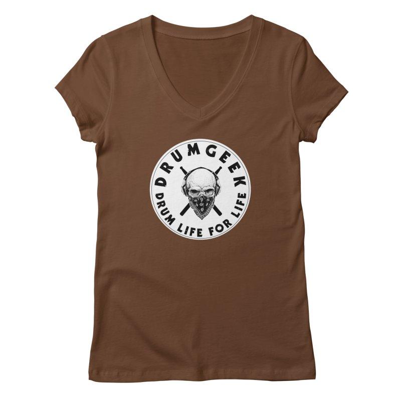 Drum Life For Life (Style 4) - Solid Logo Women's Regular V-Neck by Drum Geek Online Shop
