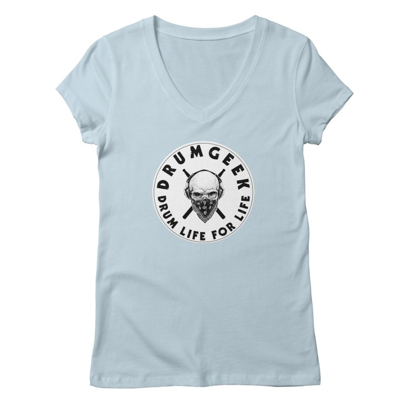 Drum Life For Life (Style 4) - Solid Logo Women's Regular V-Neck by Drum Geek Online Shop