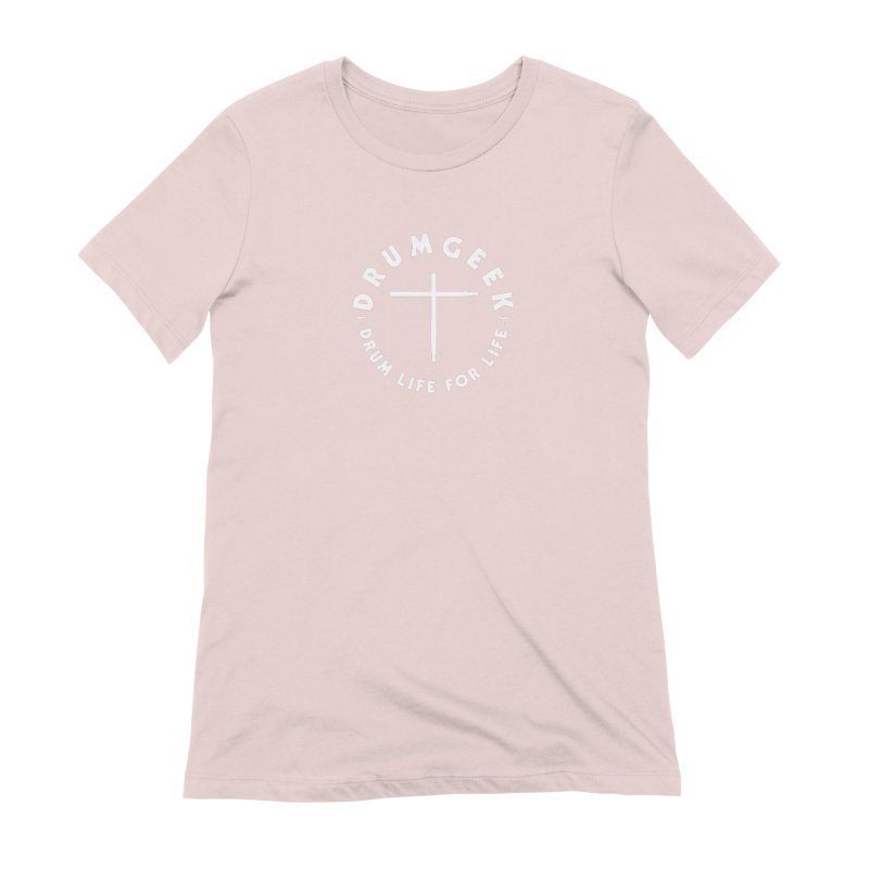 Christian Drum Geek (Style 2) - White Logo Women's Extra Soft T-Shirt by Drum Geek Online Shop