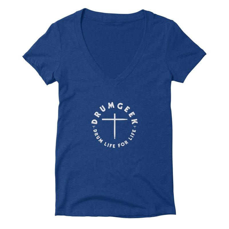 Christian Drum Geek (Style 2) - White Logo Women's Deep V-Neck V-Neck by Drum Geek Online Shop
