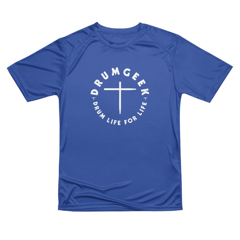 Christian Drum Geek (Style 2) - White Logo Men's Performance T-Shirt by Drum Geek Online Shop