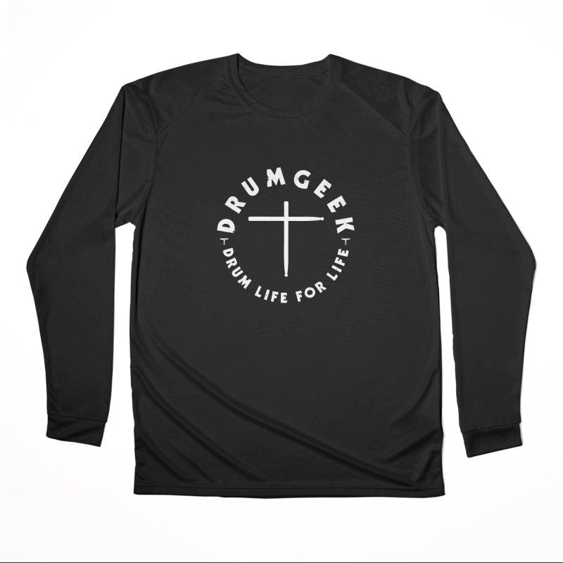 Christian Drum Geek (Style 2) - White Logo Women's Performance Unisex Longsleeve T-Shirt by Drum Geek Online Shop