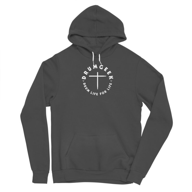 Christian Drum Geek (Style 2) - White Logo Men's Sponge Fleece Pullover Hoody by Drum Geek Online Shop