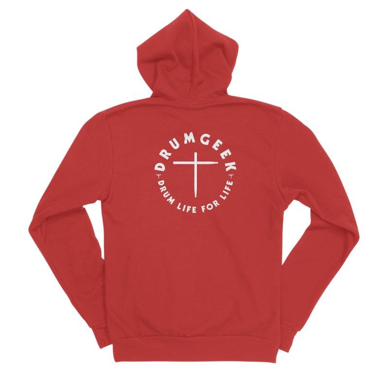 Christian Drum Geek (Style 2) - White Logo Men's Sponge Fleece Zip-Up Hoody by Drum Geek Online Shop