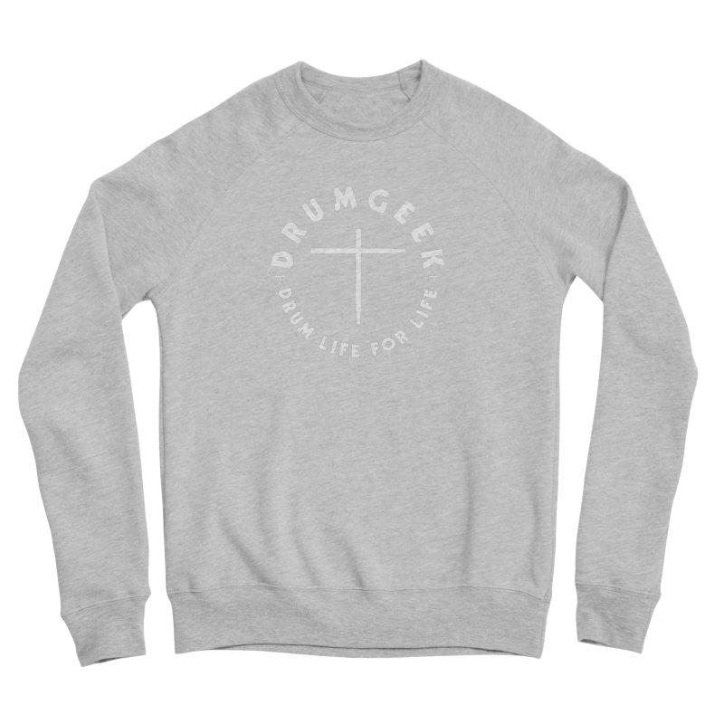 Christian Drum Geek (Style 2) - White Logo Men's Sponge Fleece Sweatshirt by Drum Geek Online Shop