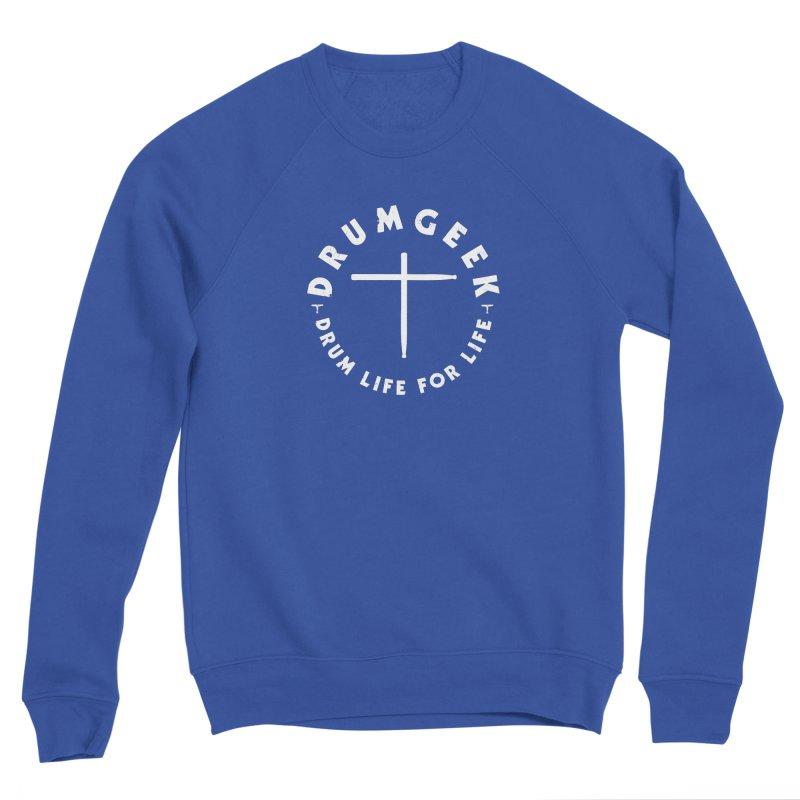 Christian Drum Geek (Style 2) - White Logo Women's Sponge Fleece Sweatshirt by Drum Geek Online Shop