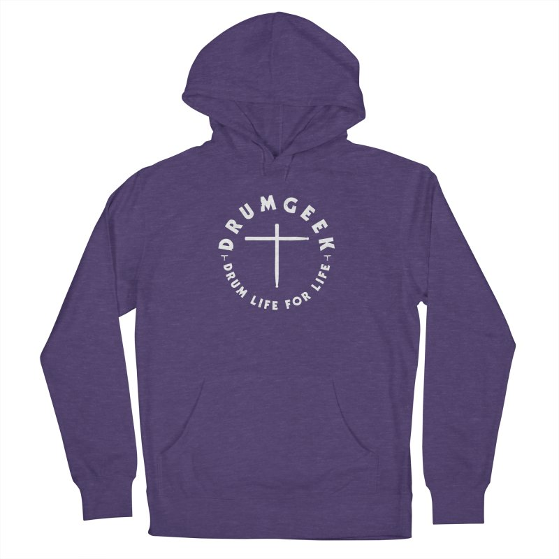 Christian Drum Geek (Style 2) - White Logo Men's French Terry Pullover Hoody by Drum Geek Online Shop