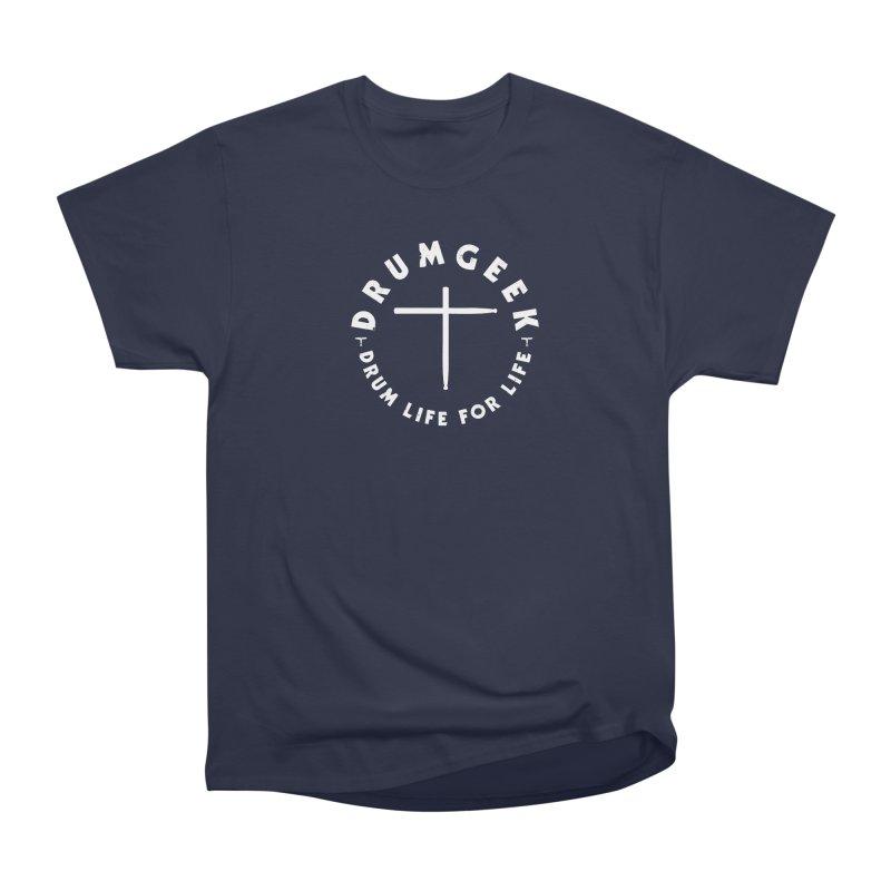 Christian Drum Geek (Style 2) - White Logo Men's Heavyweight T-Shirt by Drum Geek Online Shop