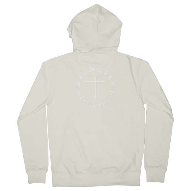 Christian Drum Geek (Style 2) - White Logo Men's French Terry Zip-Up Hoody by Drum Geek Online Shop