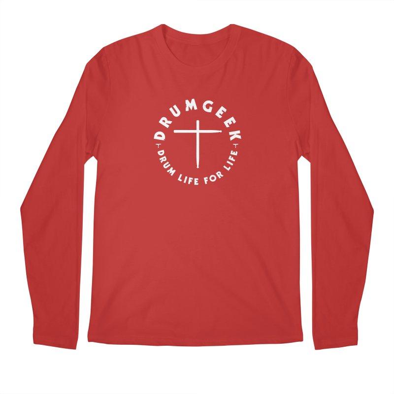 Christian Drum Geek (Style 2) - White Logo Men's Regular Longsleeve T-Shirt by Drum Geek Online Shop