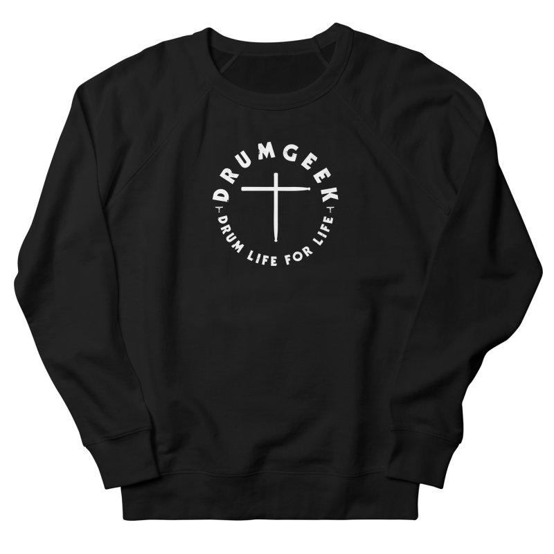 Christian Drum Geek (Style 2) - White Logo Women's French Terry Sweatshirt by Drum Geek Online Shop