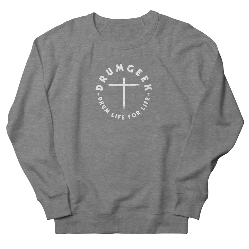 Christian Drum Geek (Style 2) - White Logo Men's French Terry Sweatshirt by Drum Geek Online Shop