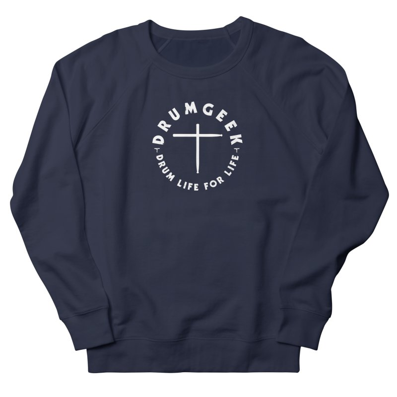 Christian Drum Geek (Style 2) - White Logo Men's French Terry Sweatshirt by Drum Geek Online Shop
