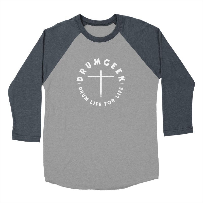 Christian Drum Geek (Style 2) - White Logo Men's Baseball Triblend Longsleeve T-Shirt by Drum Geek Online Shop