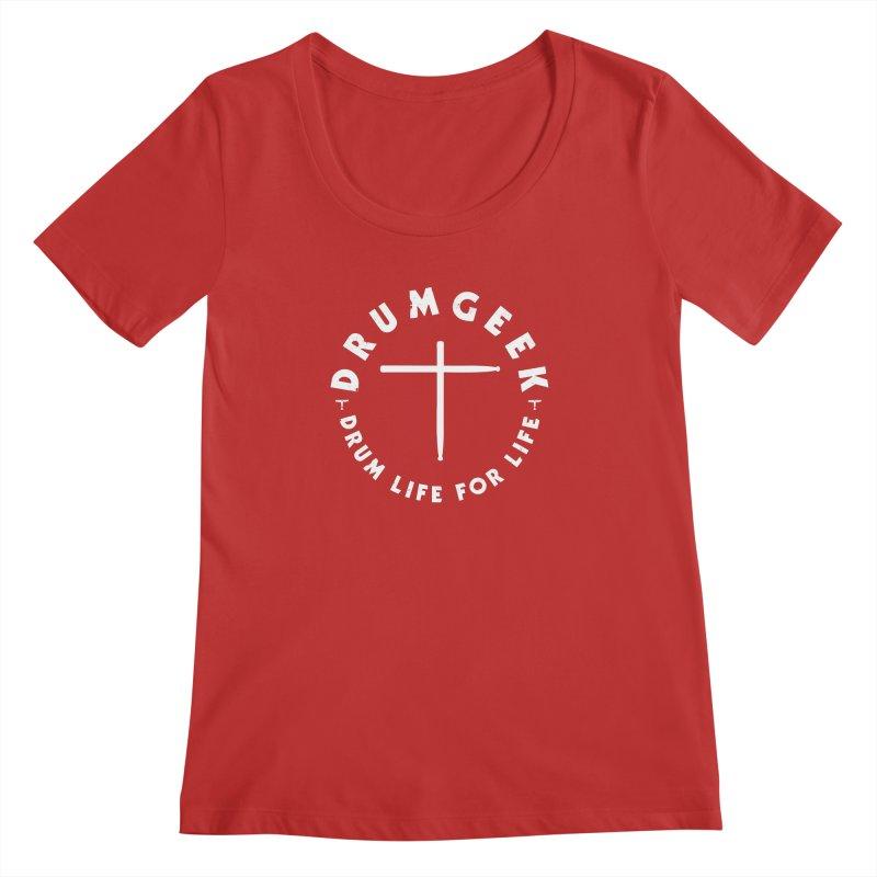 Christian Drum Geek (Style 2) - White Logo Women's Regular Scoop Neck by Drum Geek Online Shop