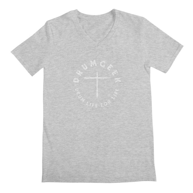 Christian Drum Geek (Style 2) - White Logo Men's Regular V-Neck by Drum Geek Online Shop
