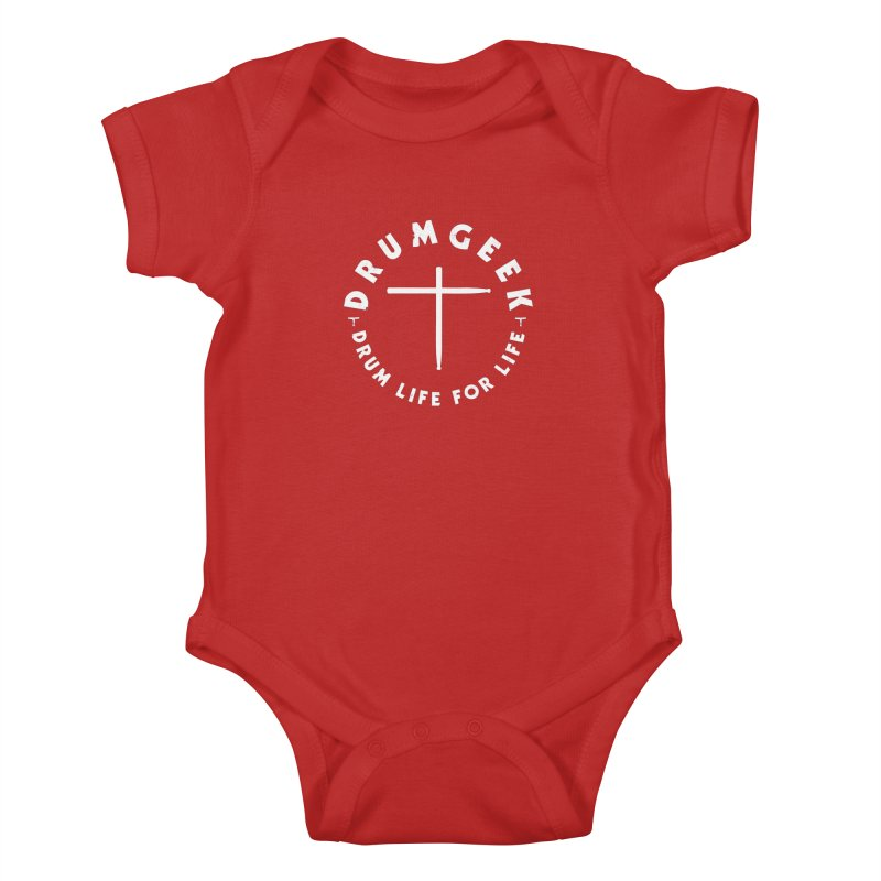 Christian Drum Geek (Style 2) - White Logo Kids Baby Bodysuit by Drum Geek Online Shop
