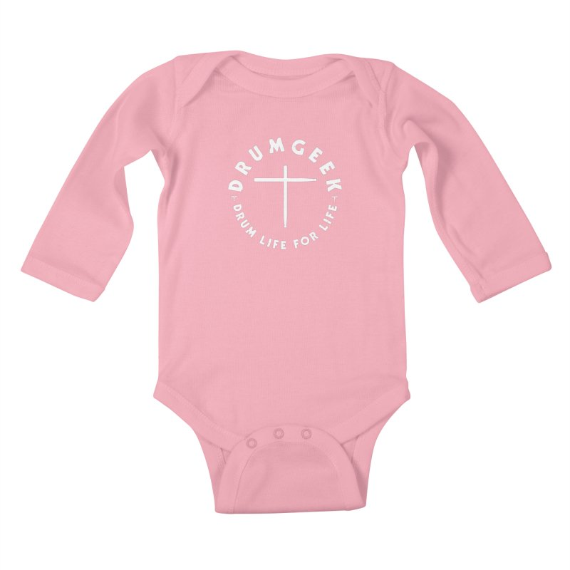 Christian Drum Geek (Style 2) - White Logo Kids Baby Longsleeve Bodysuit by Drum Geek Online Shop