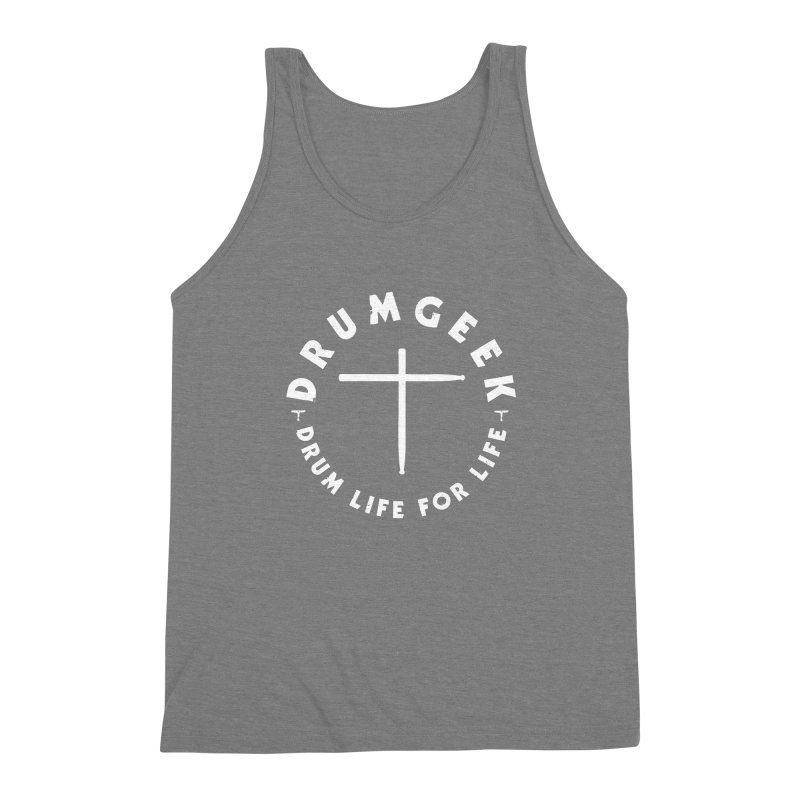 Christian Drum Geek (Style 2) - White Logo Men's Triblend Tank by Drum Geek Online Shop