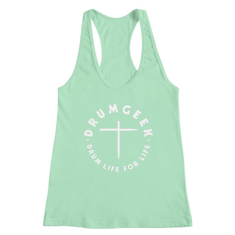 Christian Drum Geek (Style 2) - White Logo Women's Racerback Tank by Drum Geek Online Shop