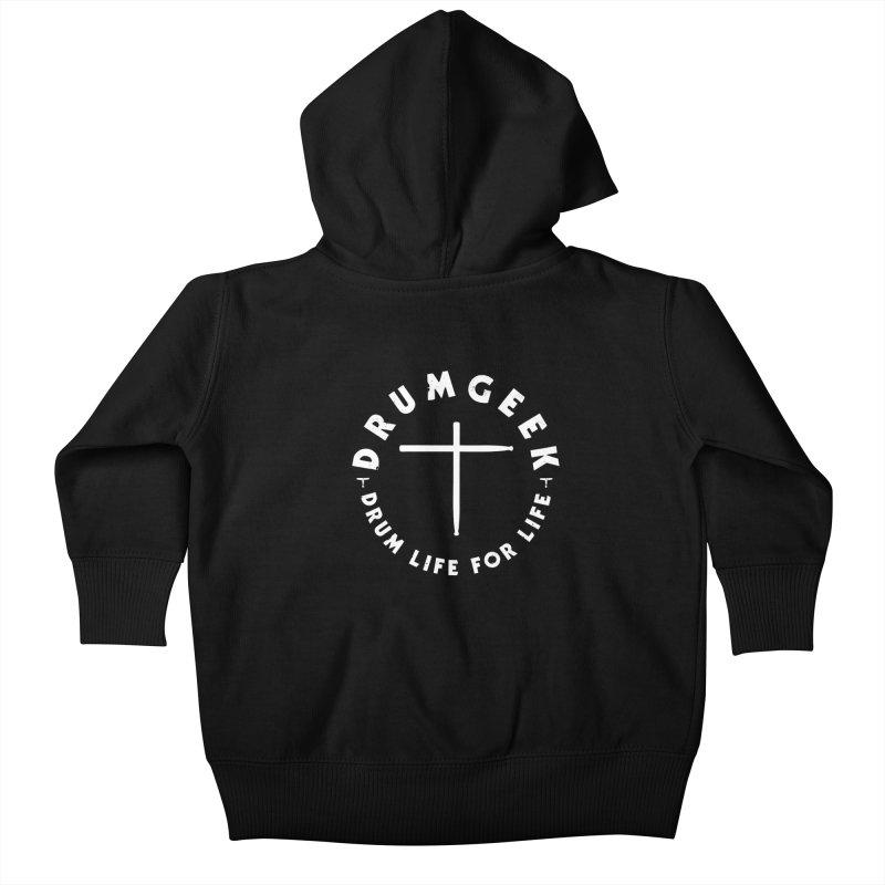 Christian Drum Geek (Style 2) - White Logo Kids Baby Zip-Up Hoody by Drum Geek Online Shop