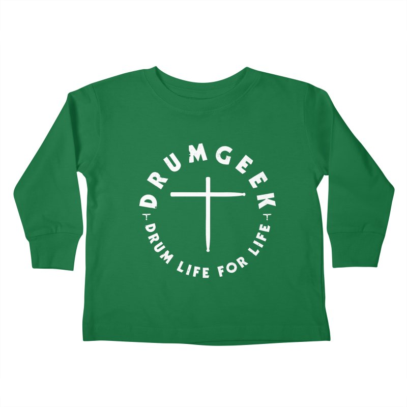 Christian Drum Geek (Style 2) - White Logo Kids Toddler Longsleeve T-Shirt by Drum Geek Online Shop
