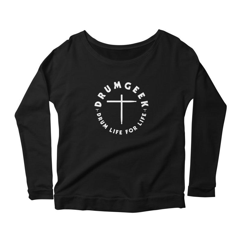 Christian Drum Geek (Style 2) - White Logo Women's Scoop Neck Longsleeve T-Shirt by Drum Geek Online Shop