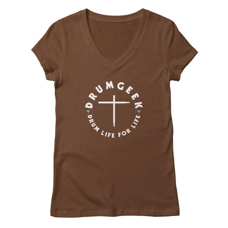 Christian Drum Geek (Style 2) - White Logo Women's Regular V-Neck by Drum Geek Online Shop