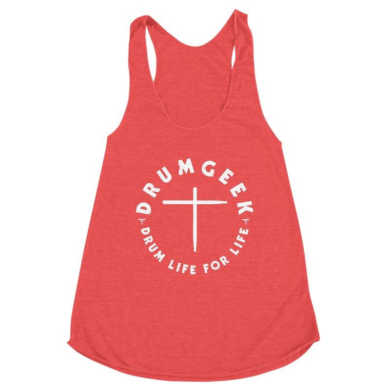 Christian Drum Geek (Style 2) - White Logo Women's Racerback Triblend Tank by Drum Geek Online Shop