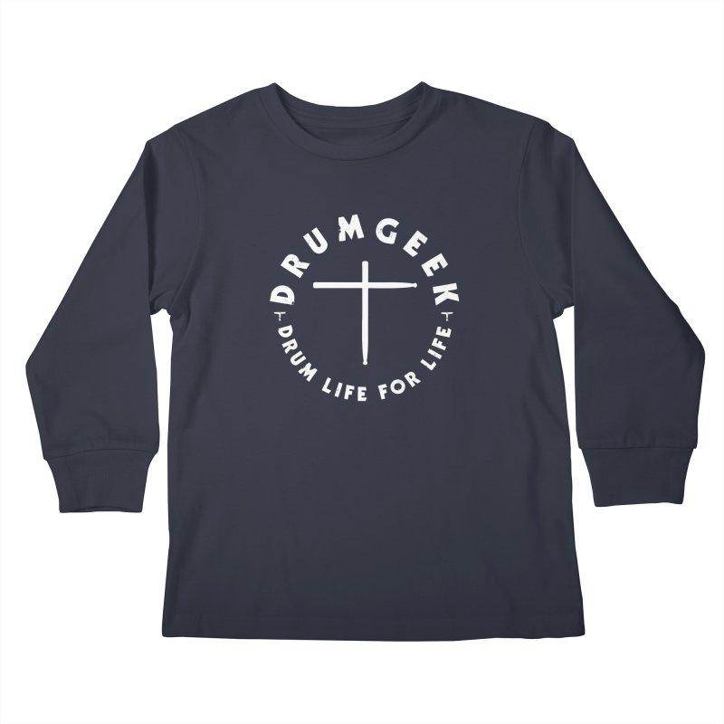Christian Drum Geek (Style 2) - White Logo Kids Longsleeve T-Shirt by Drum Geek Online Shop
