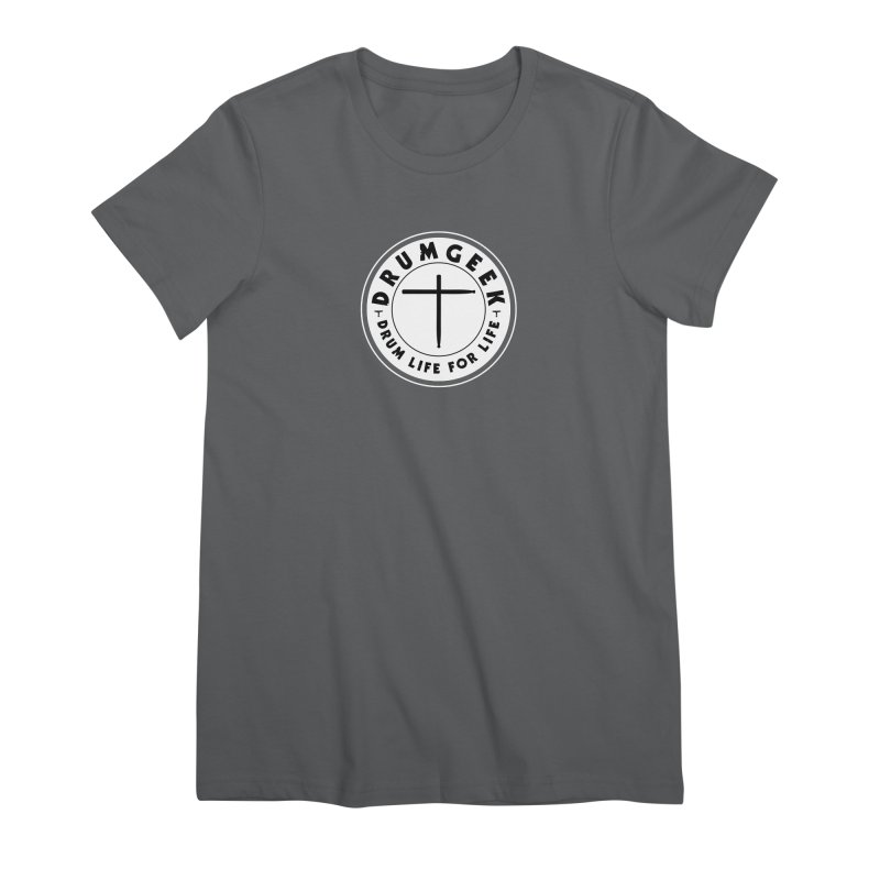 Christian Drum Geek (Style 2) - Solid Logo Women's Premium T-Shirt by Drum Geek Online Shop