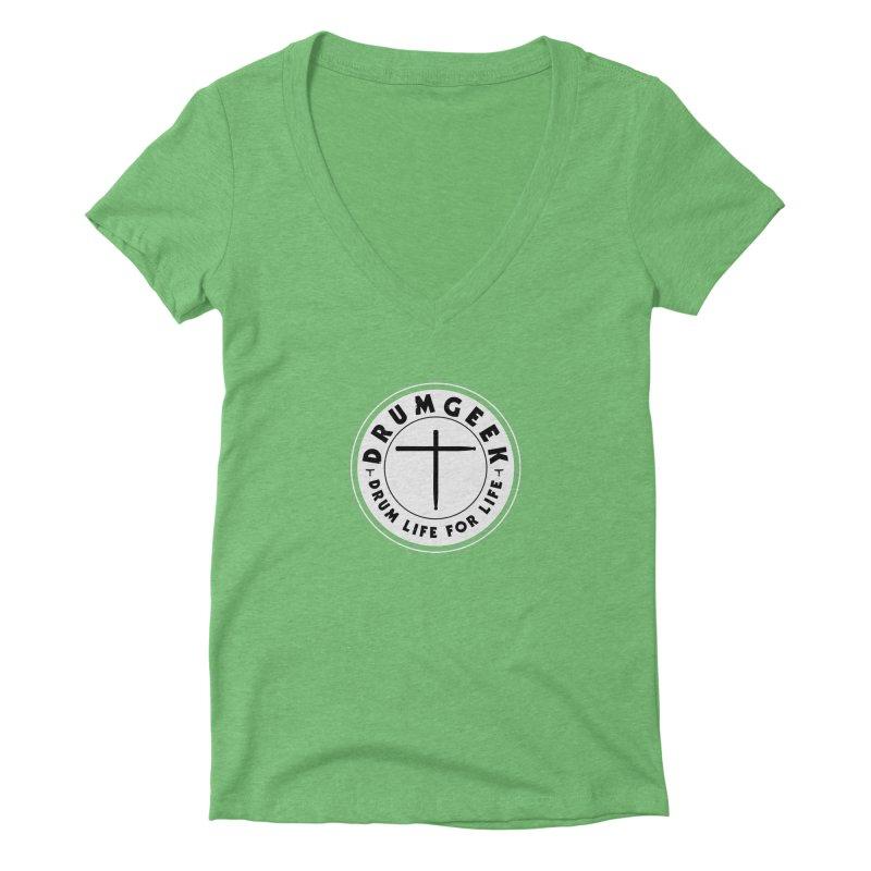 Christian Drum Geek (Style 2) - Solid Logo Women's Deep V-Neck V-Neck by Drum Geek Online Shop