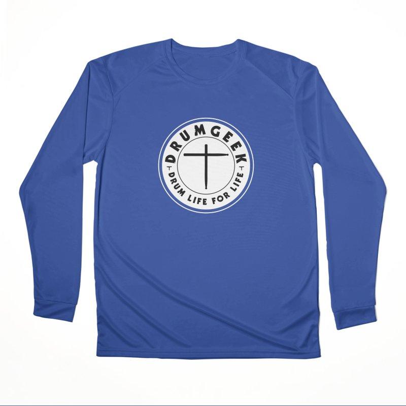 Christian Drum Geek (Style 2) - Solid Logo Men's Performance Longsleeve T-Shirt by Drum Geek Online Shop