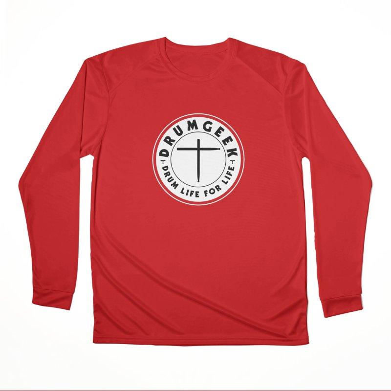 Christian Drum Geek (Style 2) - Solid Logo Women's Performance Unisex Longsleeve T-Shirt by Drum Geek Online Shop