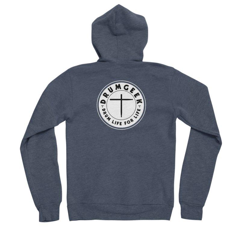 Christian Drum Geek (Style 2) - Solid Logo Men's Sponge Fleece Zip-Up Hoody by Drum Geek Online Shop
