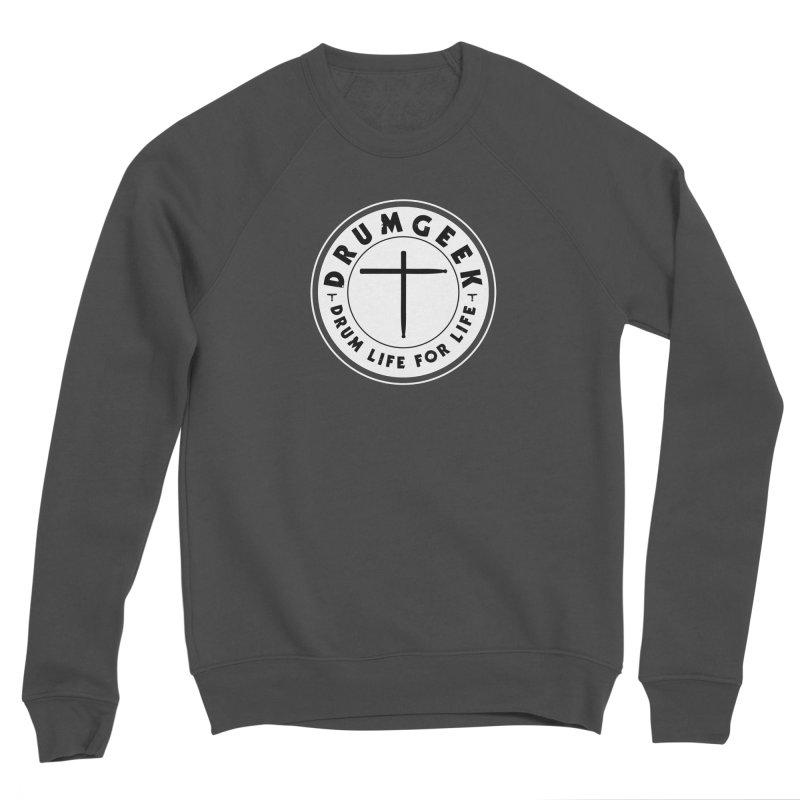 Christian Drum Geek (Style 2) - Solid Logo Men's Sponge Fleece Sweatshirt by Drum Geek Online Shop
