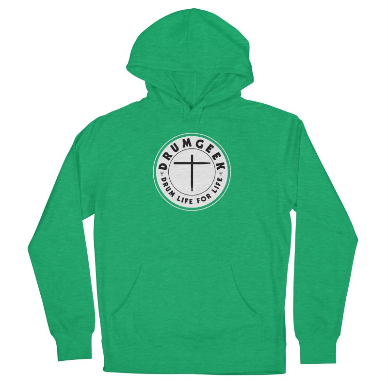 Christian Drum Geek (Style 2) - Solid Logo Men's French Terry Pullover Hoody by Drum Geek Online Shop