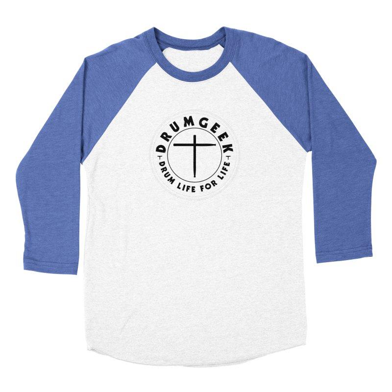 Christian Drum Geek (Style 2) - Solid Logo Women's Baseball Triblend Longsleeve T-Shirt by Drum Geek Online Shop